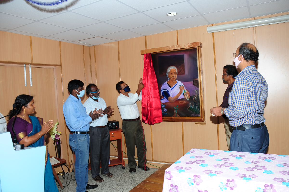 2. Unveiled portrait  of Dr E. K. Janakiammal  at Conference hall on 04-11-2020