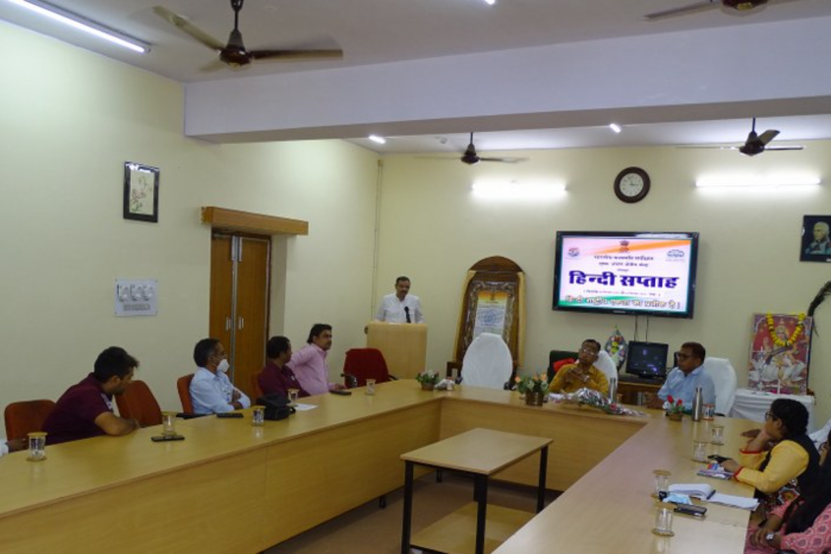Official Language Officer Dr. Sanjay Mishra giving information about Hindi week
