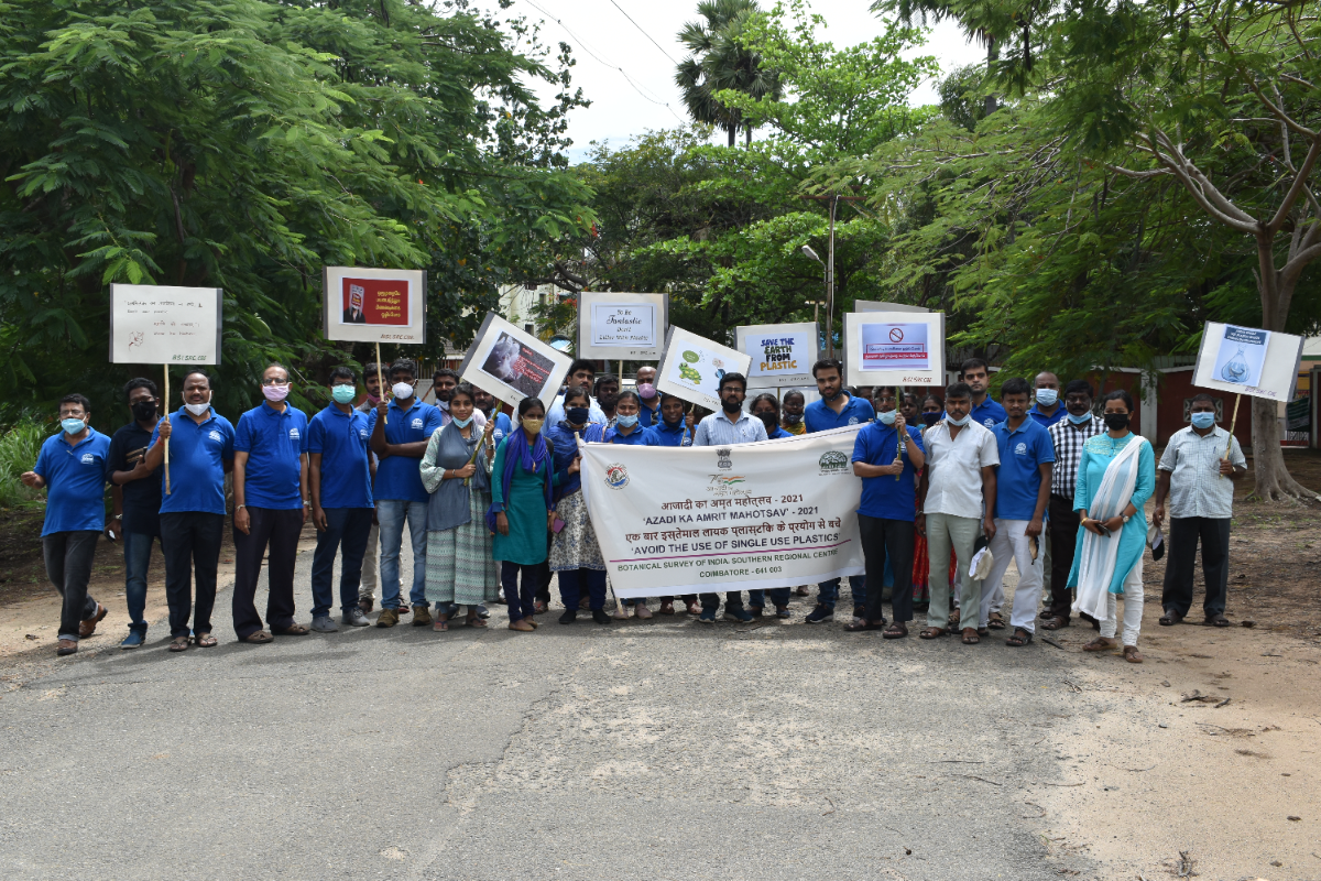 Complete Team  of BSI, SRC, involved in the Awareness Programme to avoid Plastic use.