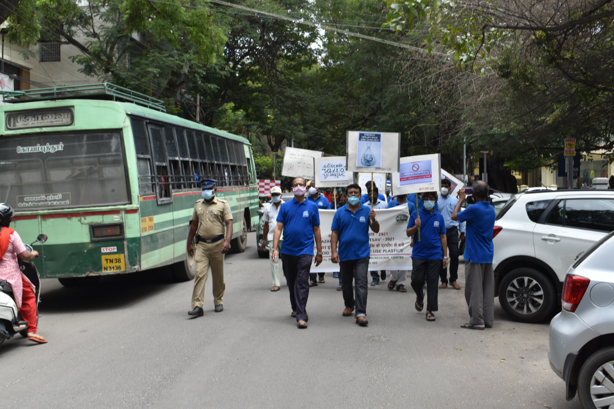 Awareness Rally is passing through the T. V. Swamy Road at  R.S. Puram in Coimbatore.