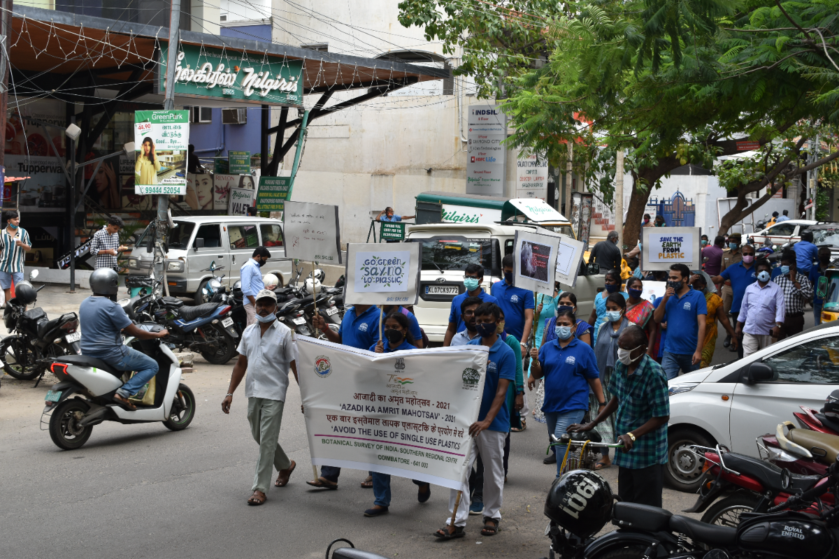 BSI, SRC, Awareness Rally is moving  through the T. V. Swamy Road, Coimbatore sensitizing the common public on the Dangerous effects of Single use Plastics.